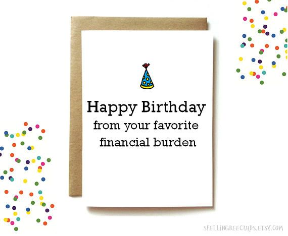Funny Birthday Card For Mom Or Dad Funny Parent Birthday Dad