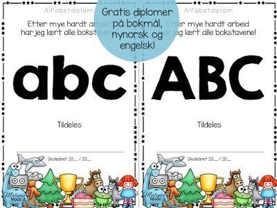Alfabetdiplomer for belønning av arbeid med innlæring av bokstaver! 89 ulike design, og gratis nedlasting i bloggen! :)