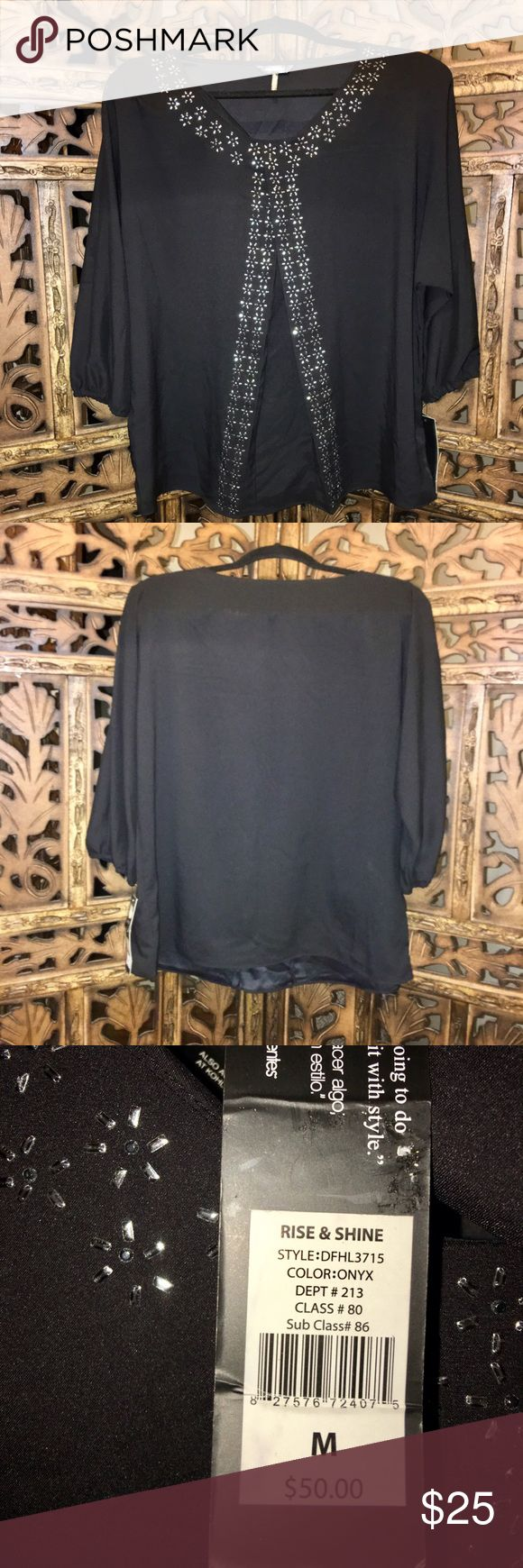 Daisy Fuentes Front Pleat Blouse Pretty Daisy Fuentes Blouse, Embellished at the collar and down the front, NWT. Daisy Fuentes Tops Blouses