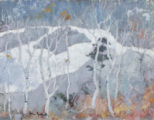 Anne Redpath (Scottish, 1895-1965), Birch trees near Blair Atholl. Oil on canvas, 71.5 x 92 cm.