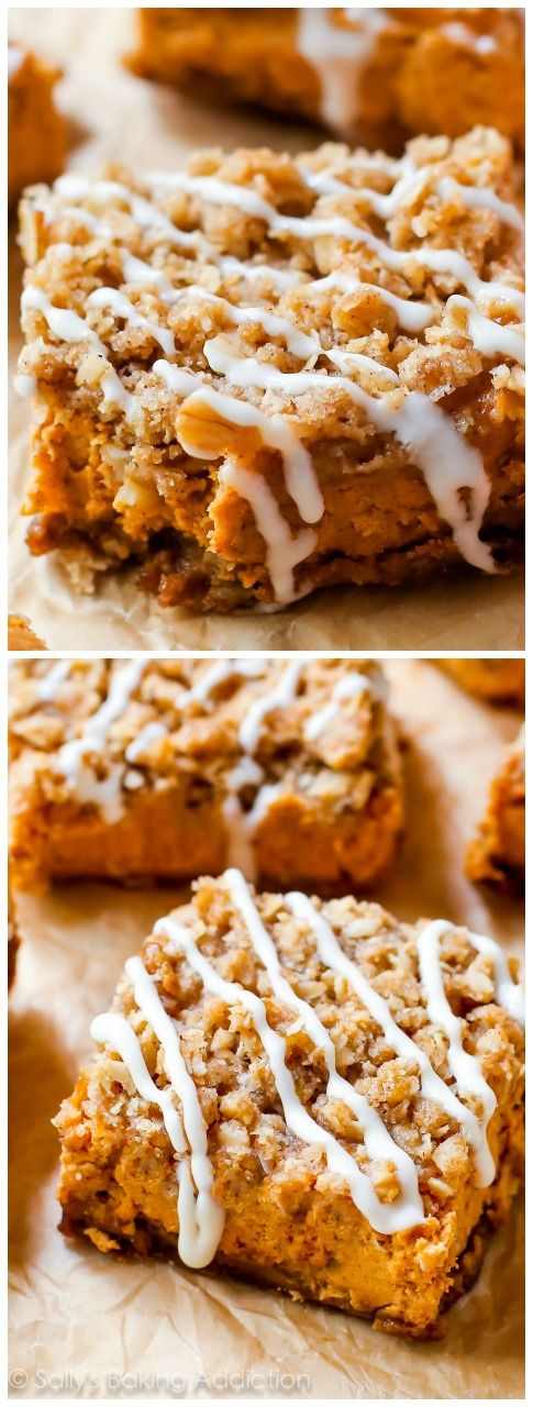 Instead of pumpkin pie this season, try my pumpkin streusel bars, with a gingersnap crust and brown sugar streusel topping, everyone will want seconds.