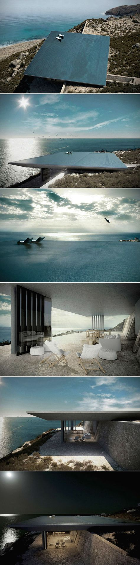 There are beach houses, and then there are beach houses. When it comes to waterfront properties, few rival the awesomeness that is the Mirage House. Spanning 198 square meters, this magnificent residence was designed by the the talented team at Kois Architecture. The dwelling is perched high on a steep, rocky hillside on the beautiful Greek islands of Tinos. So where's the actual house? Good question. The interior will be built into the hillside, buried in the landscape. The infinity pool…