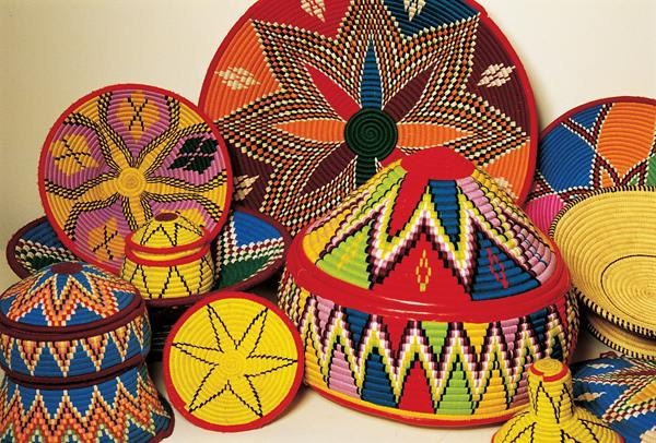Handmade Oromo (Oromia, East Africa) basket variety, colorful and beautiful crafts