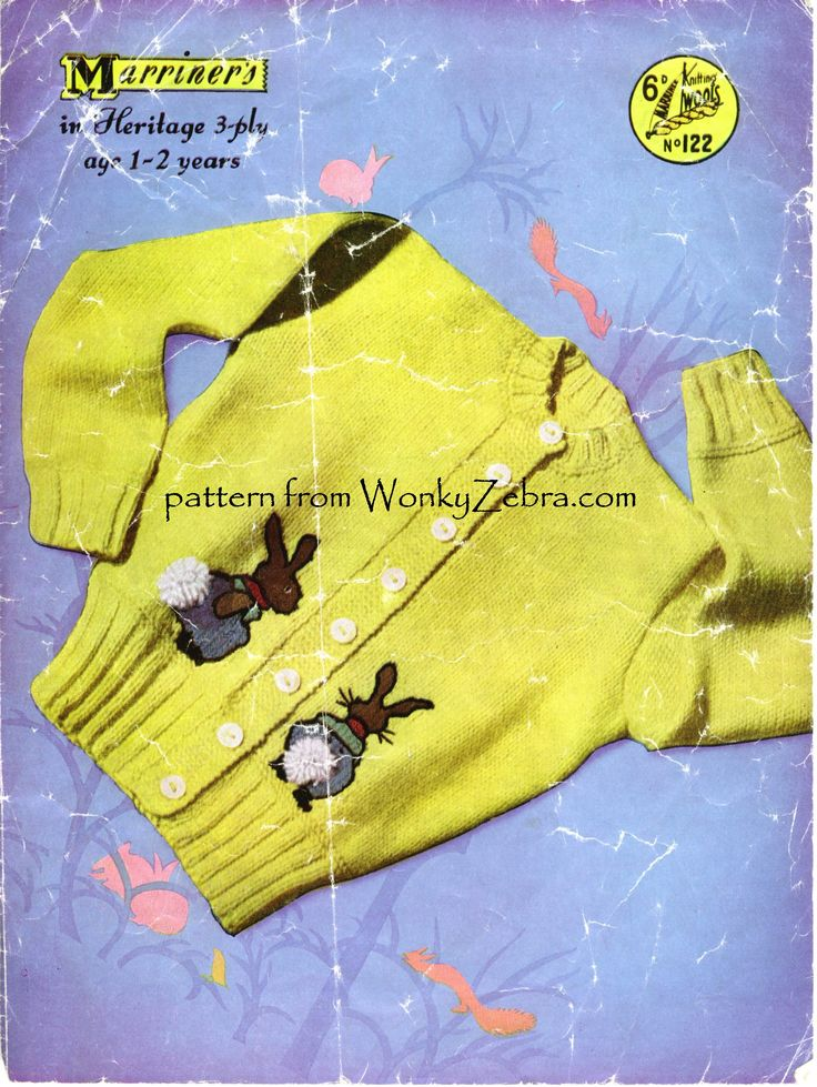 Marriner pattern WZ122 with Peter Rabbit motifs and 3D pompoms making adorable tails... perfect Easter/spring outfits! A later reissue (850 in white with additional chick/duck motif) has a boxier shape. WZ127  vintage baby cardigan .