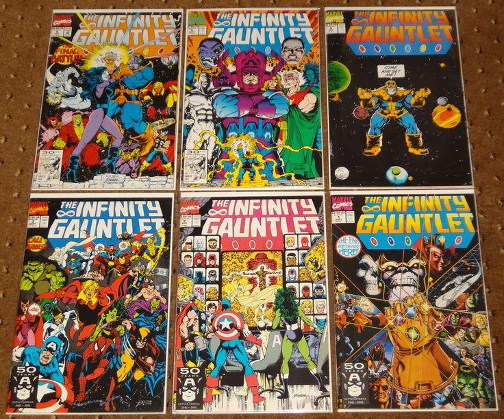 THE INFINITY GAUNTLET 1-6 1 2 3 4 5 6 MARVEL 1991 THANOS GEMS AVENGERS WOLVERINE