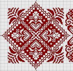 Gallery.ru / Фото #51 - еще монохром + жаккард - irisha-ira biscornu square red cross stitch chart free