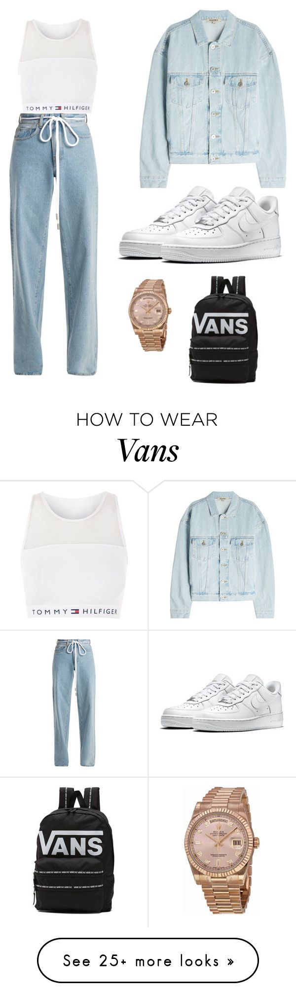 """""""chill vibes"""" by alejandra06102002 on Polyvore featuring Tommy Hilfiger, Off-White, NIKE, Yeezy by Kanye West, Rolex and Vans"""