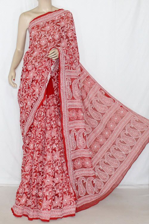 Blood Red Allover Hand Embroidered Lucknowi Chikankari Saree (With Blouse - Georgette) 12701
