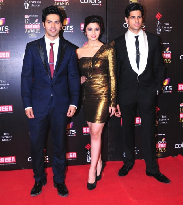 Varun Dhawan, Alia Bhatt & Siddharth Malhotra at Screen Awards 2013 | Fandiz India - Latest Indian Fashion Trends