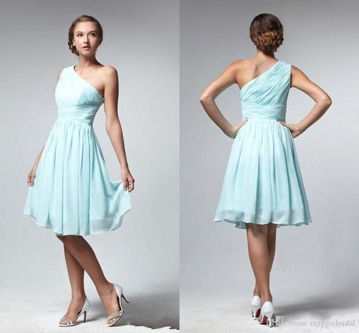 Buy wholesale bridemaid dress,bridesmaid dress sale along with sangria bridesmaid dresses on DHgate.com and the particular good one- One Shoulder A Line 2015 Bridesmaid Dresses Knee Length Chiffon Light Blue Garden Beach Lovely Girls Wedding Bridesmaid Gowns Hot Sales is recommended by maggiebridal at a discount.