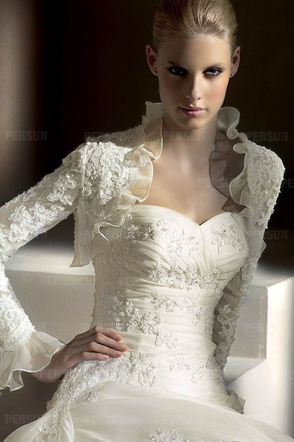 Dressesmall Embroidery Ruffles Long Sleeves Wedding Wrap