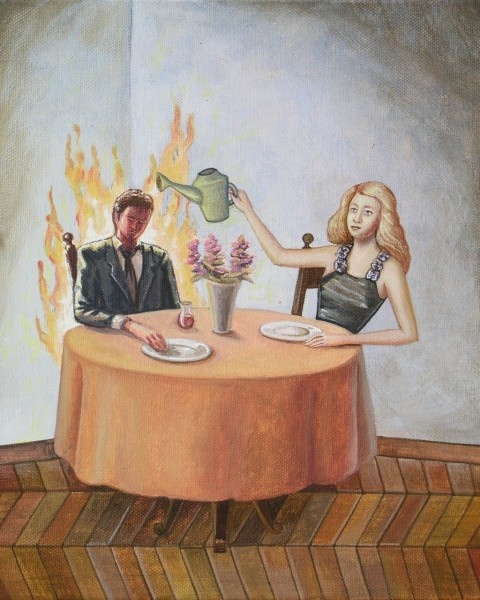 Confraternita della Salvezza, Brucio per te, acrilico su tela, 30x24cm, 2012 Vanni Cuoghi e Ilaria Del Monte