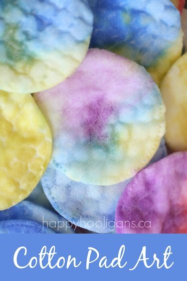 Cotton Pad Art for Toddlers - easy fine motor art project & a water absorption experiment too!  - Happy Hooligans