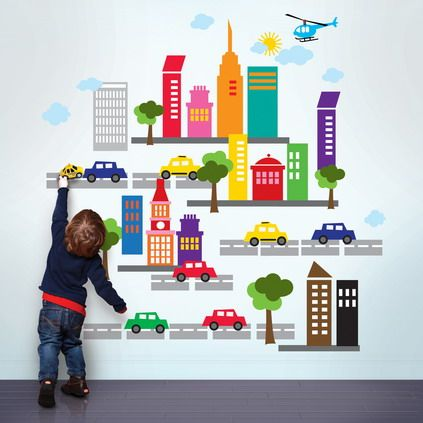 Colorful city skyscrapers cars for kids wall decor ideas with bright wall theme in simple look