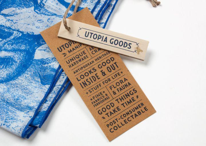 Utopia Goods swing tickets by Deuce Design.