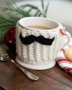 Best Free Crochet » Free Mustache Mug Hug Crochet Pattern from RedHeart.com