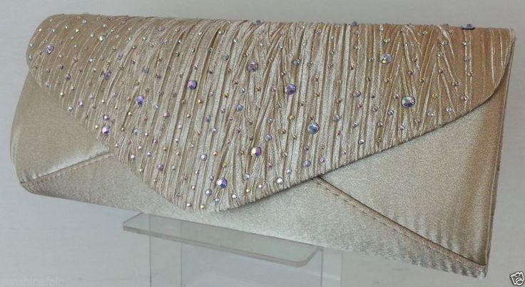 Elegant Gold Satin & Rainbow Diamante Stones Pleated Clutch Bag