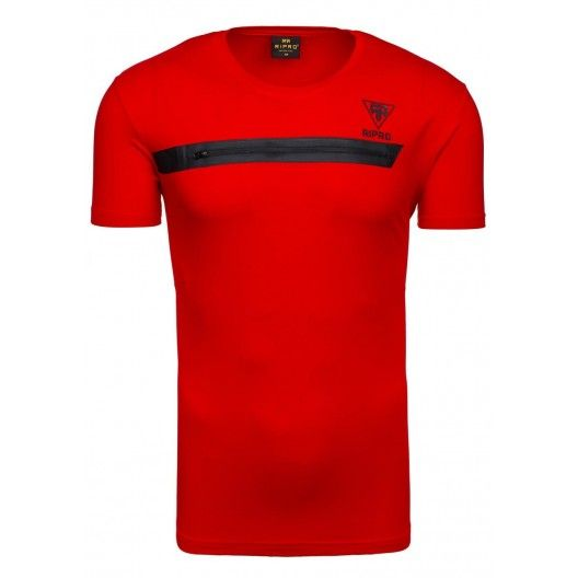 Tričko s krátkým rukávem se zipem přes prsa v červené barvě - manozo.cz