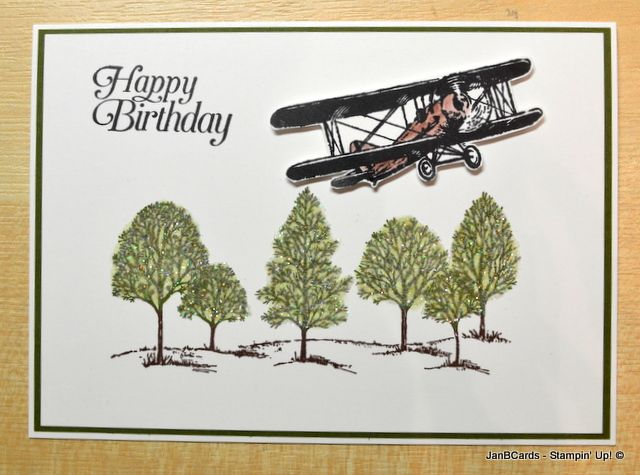I made this card using the fabulous Stampin' Up! Stamp Set called Sky IsThe Limit. This stamp set is only available as a free Sale-a-bration product between 5th January and 15th February 2016. The tree stamp is from the Lovely as a Tree Stamp Set. www.janbcards.com