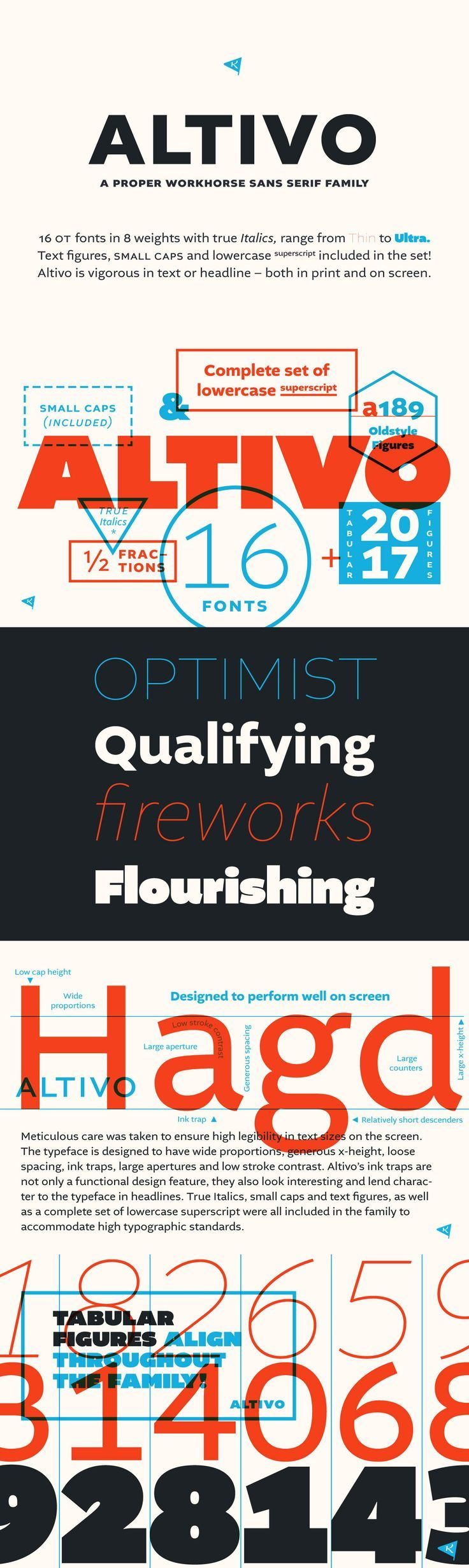 Altivo - Altivo is a proper workhorse sans serif. Sixteen OpenType fonts in eight weights (with true Italic...