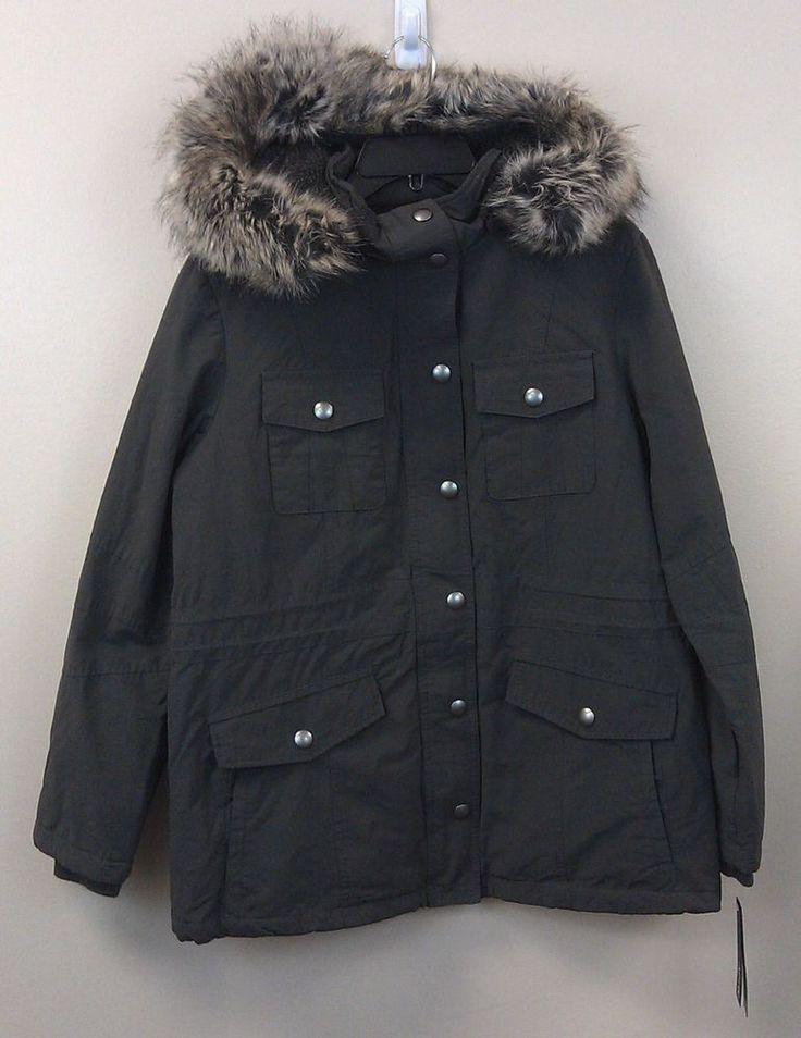 Apt.9 Women's Parka Anorak Jacket NEW/NWT Gray MEDIUM Detach Hood Faux Fur $170R #Apt9 #ParkaAnorak