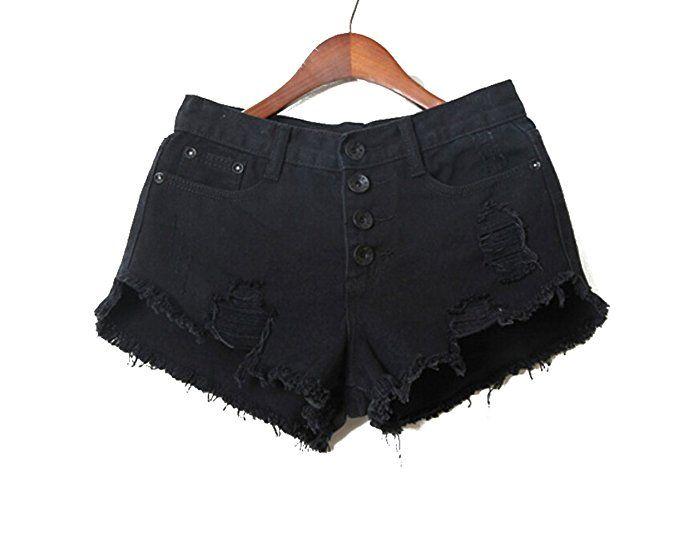MENDENG Women Punk Rock Vintage Grunge Hole Water Wash Retro Tassel Shorts Jeans