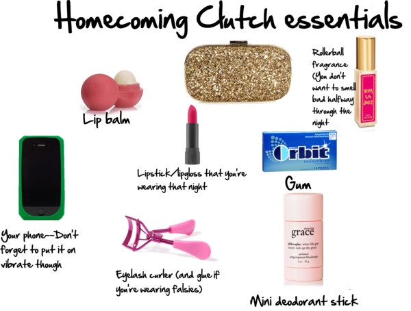 """Homecoming Clutch essentials"" by blondylovespink on Polyvore"