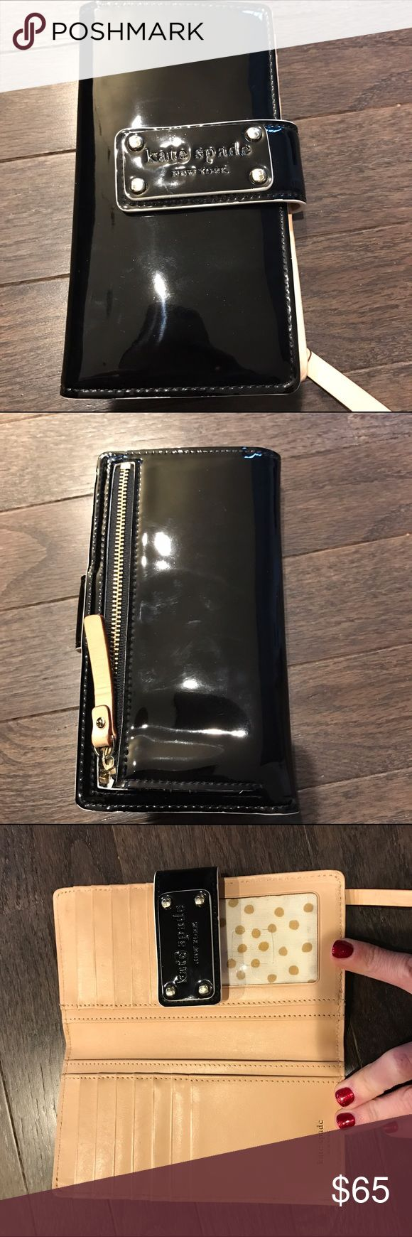 Kate Spade Patent Leather Wallet Black patent wallet. Perfect condition except for the square I cut to be able to remove my ID. kate spade Bags Wallets
