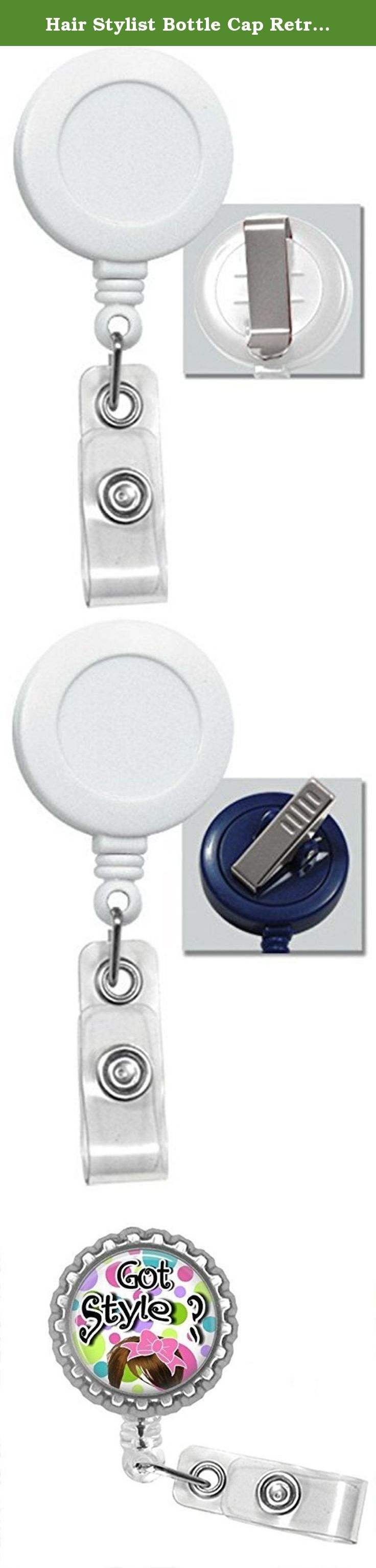 Hair Stylist Bottle Cap Retractable Badge ID Holder. Hair stylist bottlecap badge reel is a great item to hang your work or school.Id's Badge is 1.25 in diameter. The badge also is a Retractable badge with your choice of either a clip or a swivel alligator clip Pictures 2 is a slide clip picture 3 is an alligator clip you can use it to hang off your shirt pocket or your shirt sleeve or pants pocket. The retractable cord is 24 inches Badge reel says Got Style on it. The color of the badge...