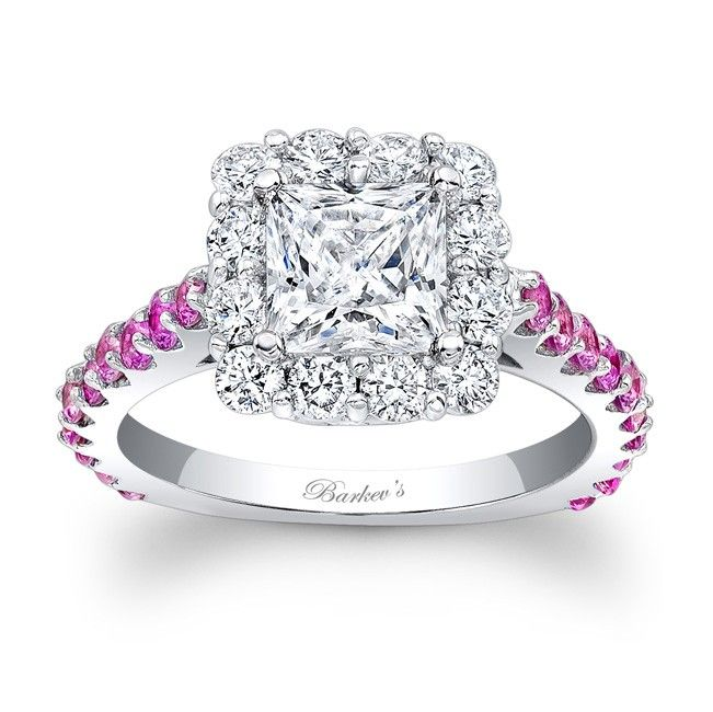 Barkevs Designer White Gold 1 TDW Diamond And Pink Sapphire Halo Ring F G