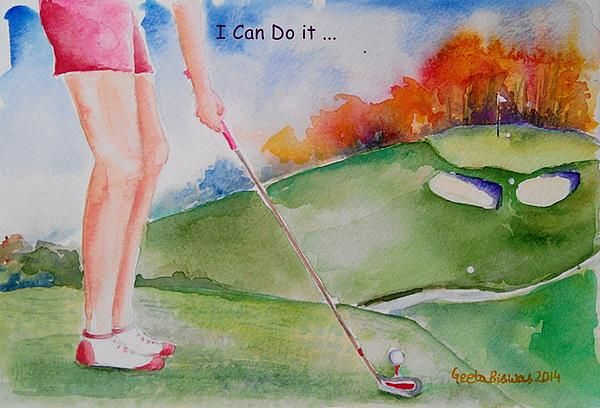 #motivation for #Golfer #watercolor by #GeetaBiswas #concept #art #golf #psychology #artprint at $27 #humor #funny #ladies #shoes #clubs #outfit