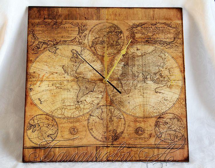 """Купить Часы """"Путешествие во времени"""" - часы настенные, часы с картой, часы для мужчины"""