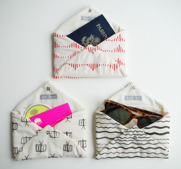 DIY accessory envelopes. enveloppes tissus