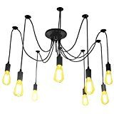 Lightess Lámpara Vintage Lámpara Industrial Lámpara de Vendimia Lámpara de Araña Múltiple DIY Lámpara de Edison Lámpara Ajustable Cepillado E27 Lámpara de Techo (8 Lámparas)