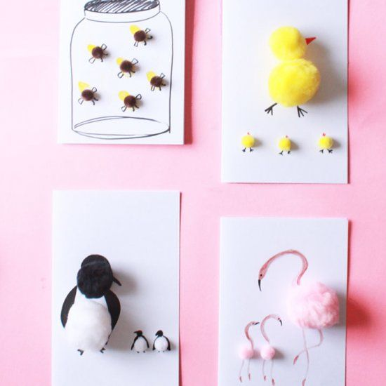 These mother's day cards are so cute and adorable ! easy to make too. All you need is pom poms!