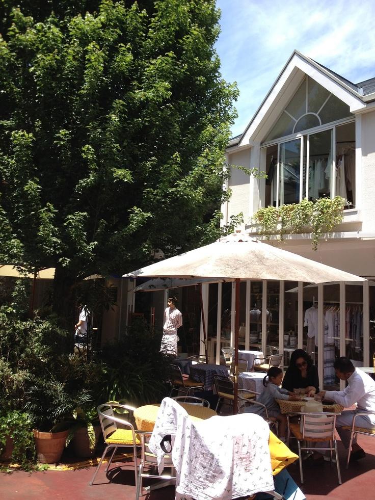 Lovely courtyard with trees & big umbrellas. French-style 'Cafe Cabanon', Jiyugaoka Tomorrowland