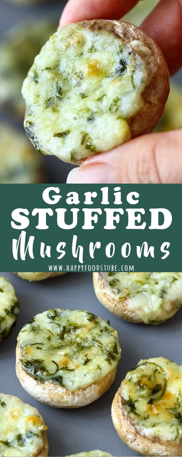 Garlic Stuffed cheesy mushrooms. Good for Buffet or potluck