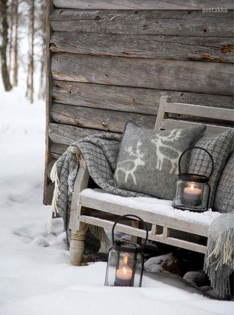 Cozy winter porch with inspiring color and texture!