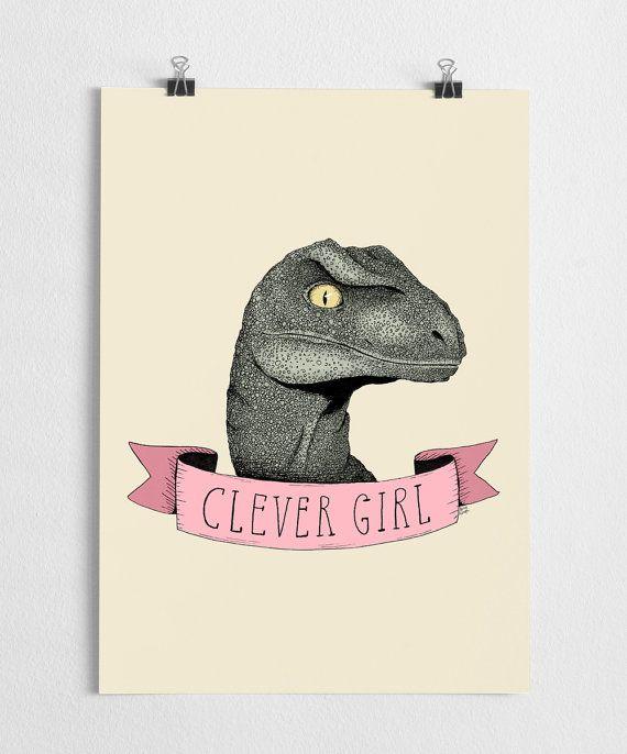 Jurassic Park art print, dinosaur poster, raptor illustration, movie quote  // Clever girl