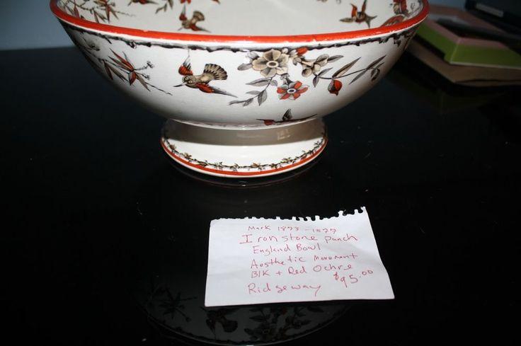 1873-1877 Rare Ironstone punch bowl Aesthetic Asian movement Red ochre Ridgeway #Ridgeway