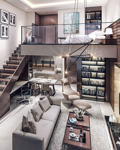Open, modern interior, neutral palette, upholstered seating, open staircase, loft living, industrial lighting, modern interior, loft style, luxurious interior