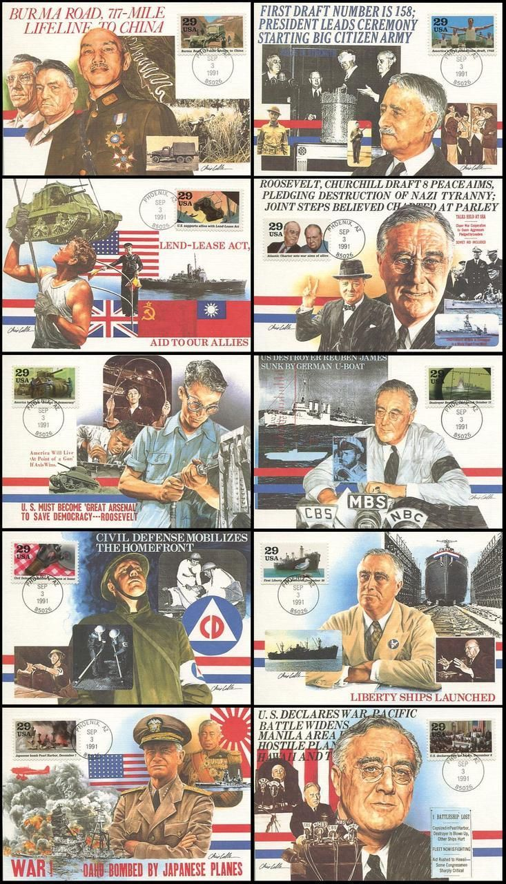 """Scott Catalog # : 2559a-j / Fleetwood First Day of Issue Maximum Card Collection. Set Includes: 2559a Burma Road / 2559b First Peacetime Draft / 2559c Lend-Lease Act / 2559d Atlantic Charter / 2559e Arsenal Of Democracy / 2559f U.S.S. Reuben James Sunk / 2559g Civil Defense / 2559h The Liberty Ships / 2559i Pearl Harbor / 2559j U.S. Declares War on Japan . Back side of postcard has the description of the stamp. It measures 4"""" x 5 3/4"""". ARE IN MINT UNADDRESSED CONDITION."""