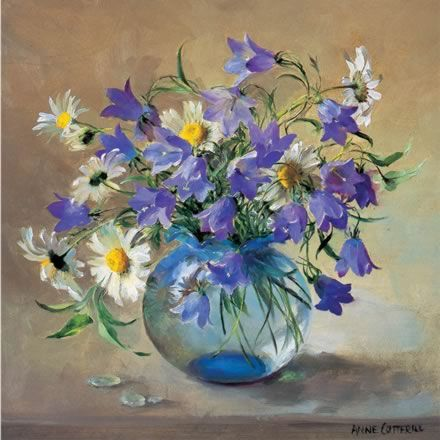 Oxeye Daisies with Harebells | Mill House Fine Art – Publishers of Anne Cotterill Flower Art