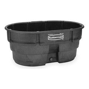 """Stock Tank, L 58 , W 39, Cap 150 Gal, Black by Rubbermaid. $211.81. Structural Resin Stock TanksSeamless black high-density structural resin tanks hold liquids and granular materials without leaking. Structural foam is durable in all kinds of weather. Oversized, 1-1/2"""" drain opening for quick, easy drainage. Drain plug included.Stock Tank, Length 58 In, Width 39 In, Height 25 In, Capacity 150 Gal, Material Structural Resin, Black, Includes Drain Plug"""