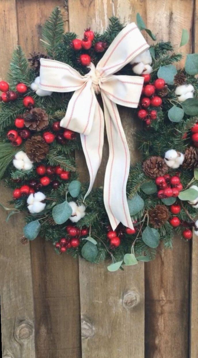 Christmas Decor Ideas Videos Exterior Christmasspirit Christmaspresents Christmascard In 2020 Christmas Wreaths Winter Wreath Diy Spring Wreath