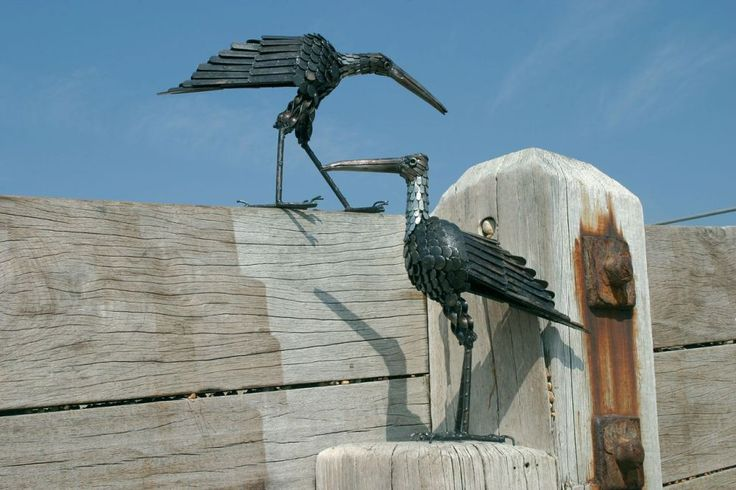 Curlew metal bird sculpture