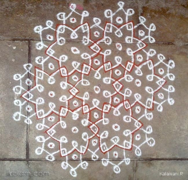 Rangoli Chikku Kolam rangoli of the day | www.iKolam.com