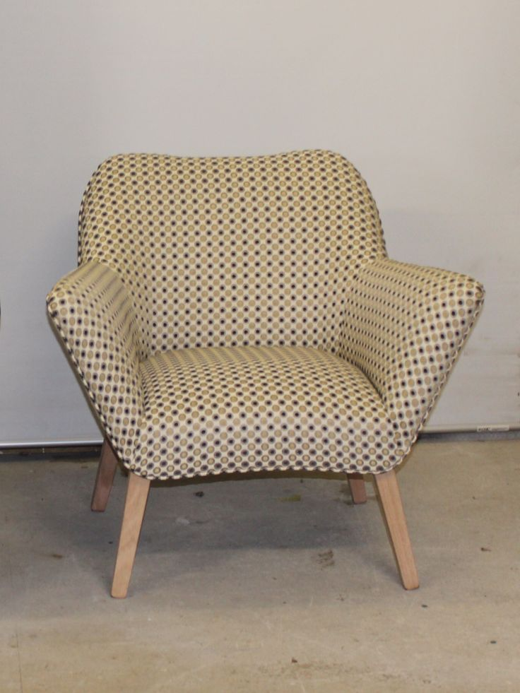 New Australian made funky retro type chair . Lifetime guarantee on hardwood frame ,premium foam etc . Warwick quality fabric .                                                This wee dapper piece will brighten up any room .  Another one can be made to match if required $595