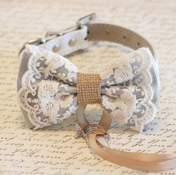 Gray Dog Bow Tie Lace and Burlap Dog ring bearer por LADogStore