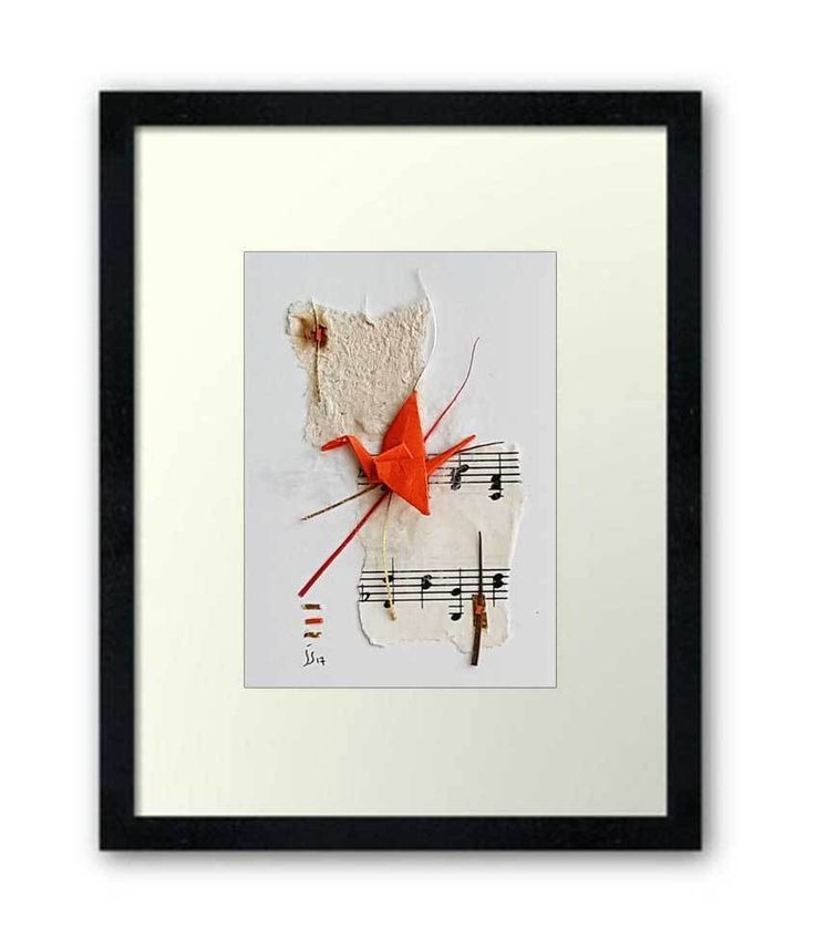 ACEO Original Origami Crane Paper Collage Abstract Bird Artwork Mixedmedia ATC #Abstract 折り紙紙コラージュ